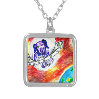 Alien Dog in Space Art Silver Plated Necklace