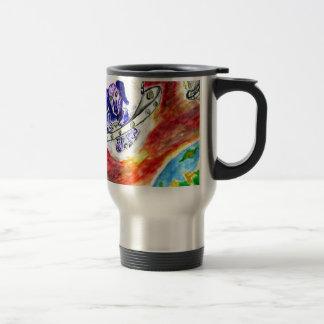 Alien Dog in Space Art Travel Mug