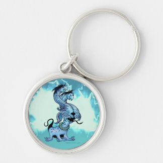"""ALIEN DOGGY MONSTER BUTTON  Premium  Small (1.44"""") Silver-Colored Round Keychain"""