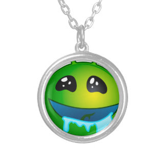 alien drooling silver plated necklace