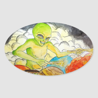 Alien drummer oval sticker