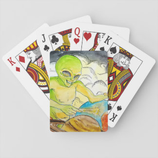 Alien Drummer Playing Cards