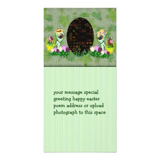 Alien Easter Egg Hunt Customized Photo Card
