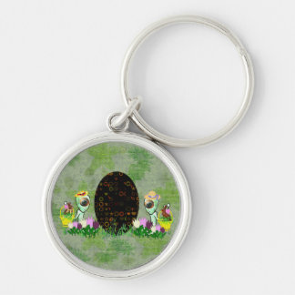 Alien Easter Egg Hunt Silver-Colored Round Keychain