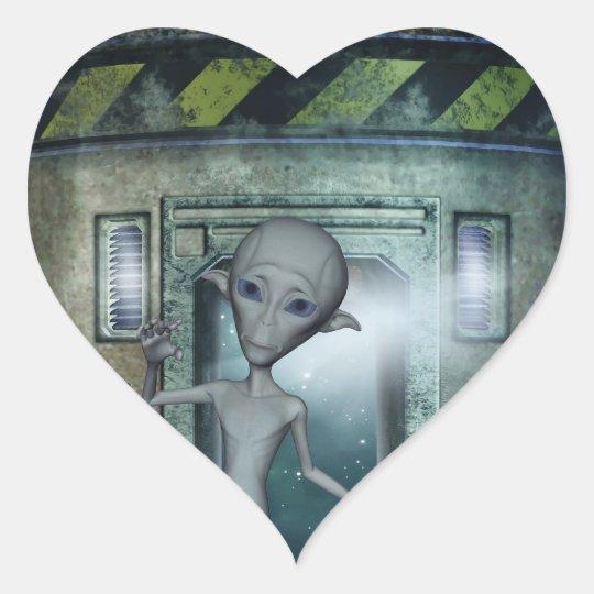 Alien Encounters Heart Sticker