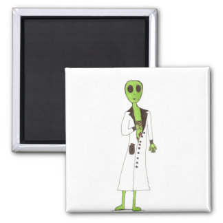 Alien Exposed Stealing Candy Square Magnet