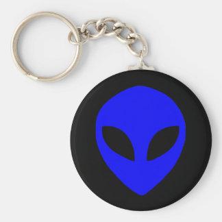 alien face blue basic round button keychain
