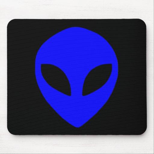 alien face blue mouse pad