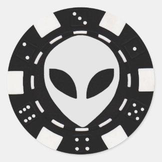 alien face poker chip black round sticker