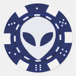 alien face poker chip blue round sticker