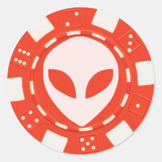 alien face poker chip orange round sticker