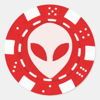 alien face poker chip red round sticker