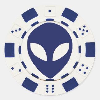 alien face poker chip white round sticker