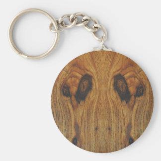Alien Faces Wood Grain Basic Round Button Keychain