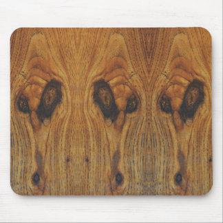 Alien Faces Wood Grain Mouse Pad