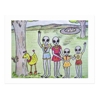 Alien Family Waiving Good Bye Postcard