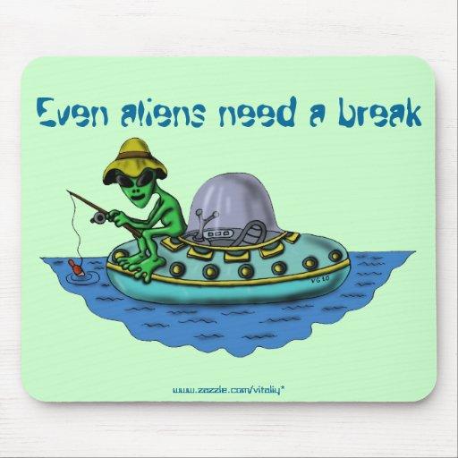Alien fishermen funny mousepad design