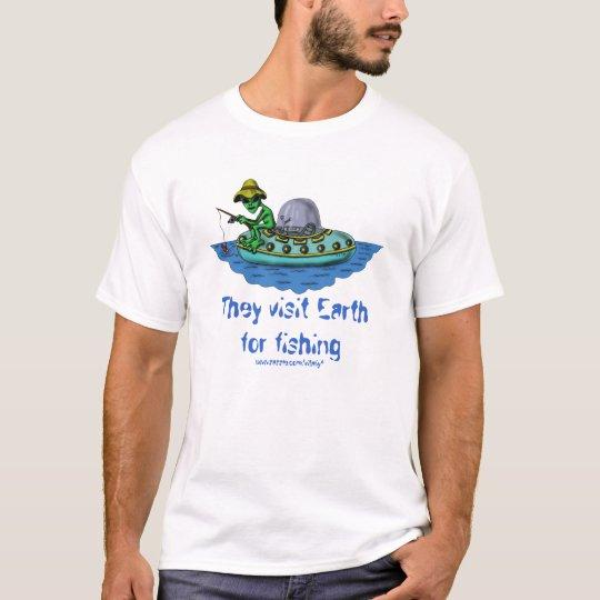 Alien fishermen funny t-shirt design
