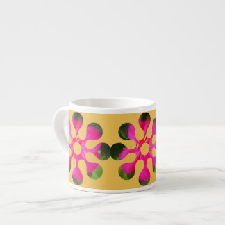 Alien flower on yellow background cappuccino cup