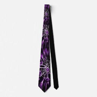 Alien flowers tie purple/white on black