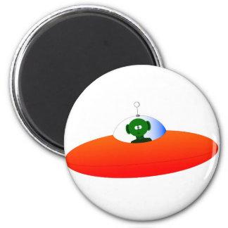 Alien Flying Saucer 2 Inch Round Magnet