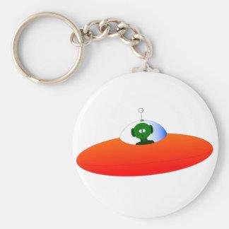 Alien Flying Saucer Basic Round Button Keychain