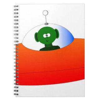 Alien Flying Saucer Spiral Notebooks