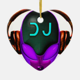 Alien Futuristic DJ with Headphones. Violet eyes Ceramic Heart Ornament