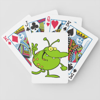 Alien Gesturing A Peace Sign Bicycle Playing Cards
