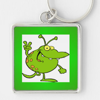 Alien Gesturing A Peace Sign Key Chain