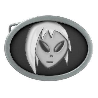 alien girl blk background buckle belt buckle