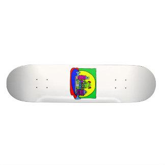 Alien girl playing music skate board decks