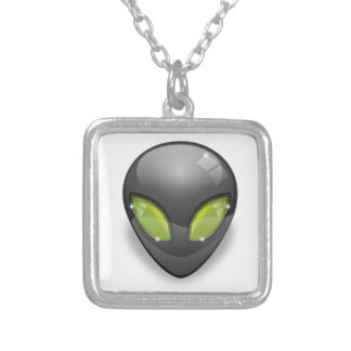Alien Gray Design#2 Silver Plated Necklace