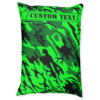 Alien Green Camo Dog Bed with Custom Text Large Dog Bed