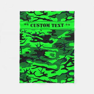 Alien Green Camo w/ Custom Text Fleece Blanket