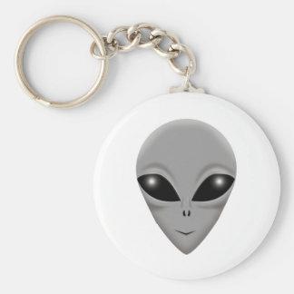 Alien Grey Basic Round Button Keychain