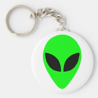 Alien Head Basic Round Button Keychain