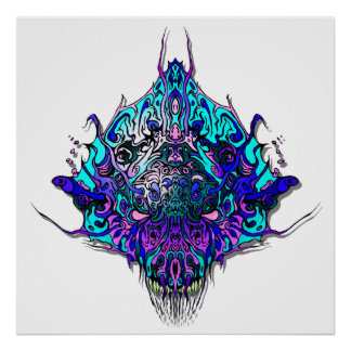 Alien Head Evil Species # 44 - blue and purple Poster