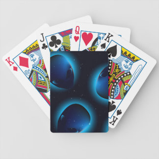 Alien head in space bicycle playing cards