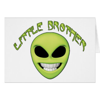 Alien Head Little Brother Note Card