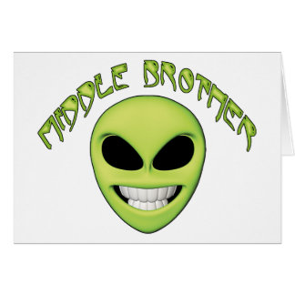 Alien Head Middle Brother Greeting Cards