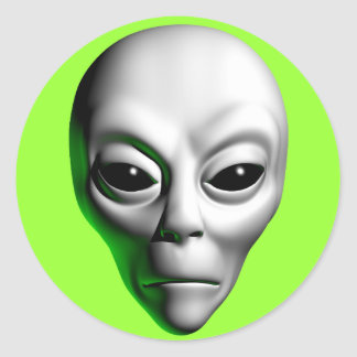Alien Head Round Sticker