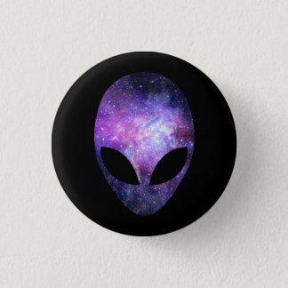Alien Head With Conceptual Universe Purple 1 Inch Round Button