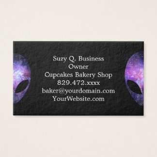 Alien Head With Conceptual Universe Purple Business Card