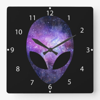 Alien Head With Conceptual Universe Purple Square Wall Clock