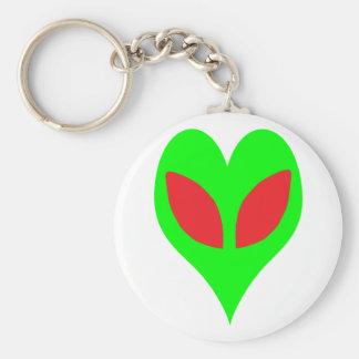 Alien Heart Basic Round Button Keychain