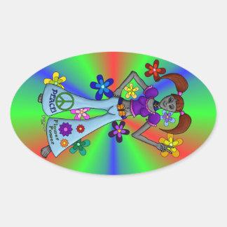 Alien Hippy Oval Stickers