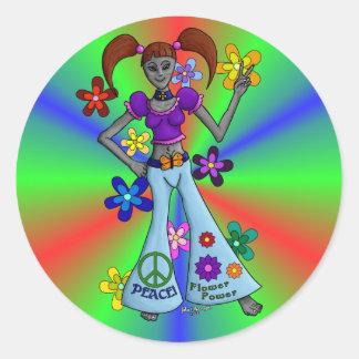 Alien Hippy Round Stickers