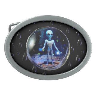 Alien in a Bubble Oval Belt Buckle