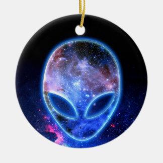 Alien in Space Ceramic Ornament